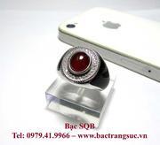 Nhẫn bạc nam đá đỏ sang trọng