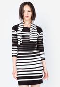Đầm len cổ tròn kẻ đen trắng Lenlink