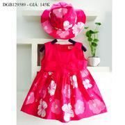 Đầm kate nơ ngực tùng hoa kèm nón dễ thương cho bé gái 1 - 8 tuổi DGB129588