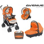 Xe đẩy em bé Brevi Avenue 4 món màu cam