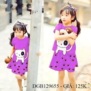 Đầm thun thêu mèo kèm chíp dễ thương cho bé gái 1 - 8 tuổi DGB129655
