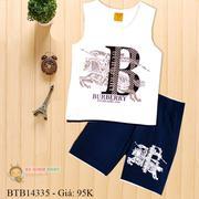 Bộ thun in chữ Burberry dễ thương cho bé trai 1 - 8 Tuổi BTB14334