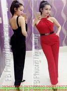 Jumpsuilt dài kiểu cổ yếm hở lưng và quần phối túi sành điệu JUD153