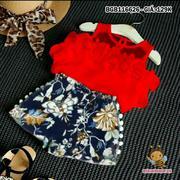 Bộ short kaki hoa áo bèo dễ thương cho bé gái 1 - 8 tuổi BGB116591