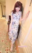 Váy đầm maxi in hoa màu xanh