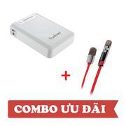 Combo: Pin sạc dự phòng Yoobao YB-645 10400mAh Trắng - Cáp sạc Remax 2 đầu Lightning/Micro Trắng