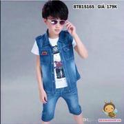 Set áo ghi lê kèm quần jeans wash rách (không kèm áo trong) dễ thương cho bé 1 - 8 tuổi BTB15165