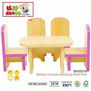 Bộ nội thất bàn ăn bằng tre (màu hồng) - BH3501A