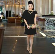 Váy Suông Thanh Lịch Giống Lê Khánh - Đen 2145D Gmess