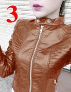 Áo khoác da nữ thu đông cổ trụ xếp ly cách điệu sang trọng AKE53