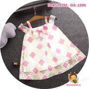 Đầm voan kiếng trễ vai dễ thương cho bé gái 1 - 8 tuổi DGB129780