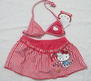 Áo bơi Hello Kitty sọc đỏ bé gái
