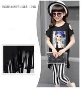 Bộ áo khoét vai tua rua quần legging dễ thương cho bé gái 2 - 8 tuổi BGB116505