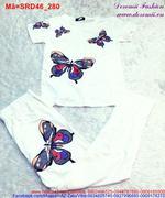 Set áo tay ngắn hình bướm quần dài lưng thun xinh yêu SRD46