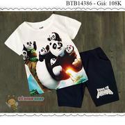 Bộ thun in 3D gấu kungfu panda 3 dễ thương cho bé trai 1 - 8 Tuổi BTB14386