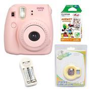 Bộ máy chụp ảnh lấy ngay Fujifilm Instax Mini 8 (Hồng) + Hộp phim Fujifilm Instax Mini Mickey 10 tấm...