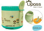 Hộp giữ ấm thức ăn kèm thìa và dĩa Upass không BPA sản xuất và nhập khẩu từ Đài Loan