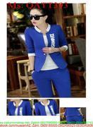 Sét thể thao nữ áo khoác phối viền và quần dài kèm áo trong QATT393