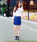 Chân váy Jean xanh đậm kiểu truyền thống xinh đẹp CVJ37