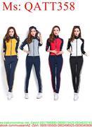 Sét thể thao nữ áo khoác ghép màu phối quần dài trẻ trung QATT358