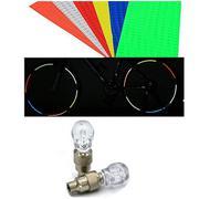 Bộ tem phản quang và 2 đèn led hình đầu lâu gắn van xe đạp (trắng)