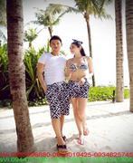 Quần đôi mặc đi biển mùa hè họa tiết sọc chéo trắng đen QC5