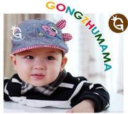 Mũ bê rê ghi cá kẻ cho bé