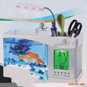 Bể cá mini kiêm đồng hồ để bàn (Trắng)