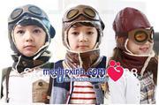 Mũ phi công da lót nỉ ấm cho bé trai bé gái