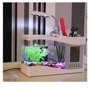 Bể cá mini phong thủy sạc USB 2L (Trắng)