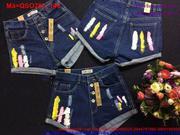 Quần short jean nữ phối 4 nút sơn 3 sọc màu nổi bật QSO283