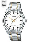 Đồng hồ nam dây thép không gỉ Casio MTP-V005SG-7AUDF (Bạc viền vàng)