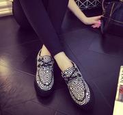 Giày vải cột dây kẻ đen trắng 7167