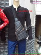Túi đeo bao tử LV caro phối dây kéo nam tính TDBT1