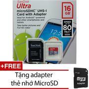 Thẻ nhớ MicroSDHC SanDisk Ultra 16GB 80MB/s (Xám) + Tặng 1 adapter thẻ nhớ MicroSD