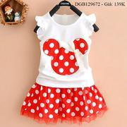Bộ váy rời kèm chíp thêu đắp mickey dễ thương cho bé gái 1 - 8 tuổi DGB129670