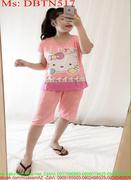 Đồ bộ nữ mặc nhà lửng hình kitty dễ thương DBTN517