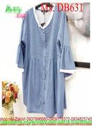 Đầm bầu hàn quốc denim viền trắng xinh đẹp thời trang DB631