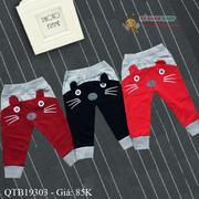 Quẩn nỉ da cá mặt mèo dễ thương cho bé 1 - 10 tuổi QTB19303