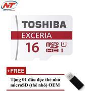 Thẻ nhớ MicroSDHC Toshiba Exceria 16GB Class 10 48MB/s không Box (Đỏ) + Tặng 01 đầu đọc thẻ nhớ Micr...