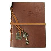 Retro Vintage Journal Diary Notebook PU Leather Cover Blank Kraft Papers Notepad Key Pendant String ...