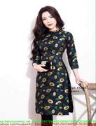 Áo dài nữ cách điệu họa tiết hoa vàng nổi bật sang trọng zzAD1