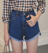 quần short jeans cạp cao tua