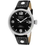 Invicta Men's 1460 Vintage Collection Riveted Leather Strap Black Dial Watch