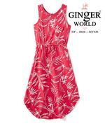 Đầm thun cho bé gái họa tiết hoa lá, màu đỏ JB-HL