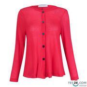 Áo khoác len cài nút màu đỏ - 15015