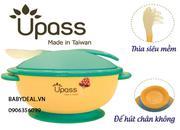 Chén ăn chống trượt kèm thìa mềm Upass không chứa BPA, an toàn cho bé ăn