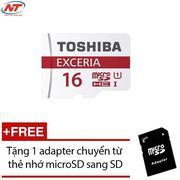 Thẻ nhớ MicroSDHC Toshiba Exceria 16GB Class 10 48MB/s không Box (Đỏ) + Tặng 1 adapter thẻ nhớ micro...