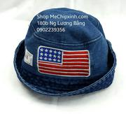 Mũ bò vành tròn thêu cờ mỹ