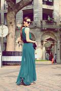 Váy đầm maxi màu xanh